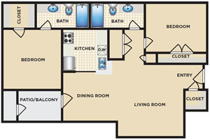 Two Bedroom / Two bath - 907 Sq. Ft.*